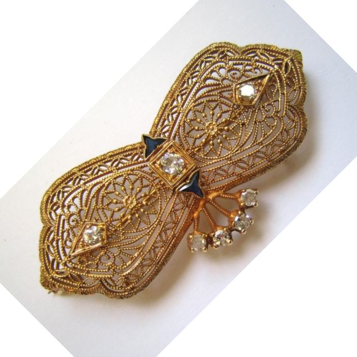 14K Filigree Yellow Gold, Diamond and Sapphire Brooch/Pin