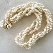 Unsigned Cultured Freshwater Pearl Necklace with Artificial Pearl Clasp