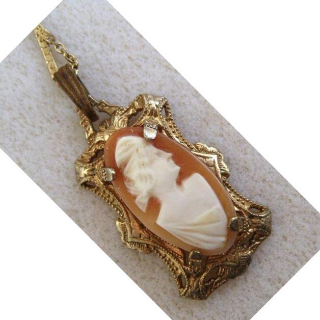 Goldtone Cameo Necklace