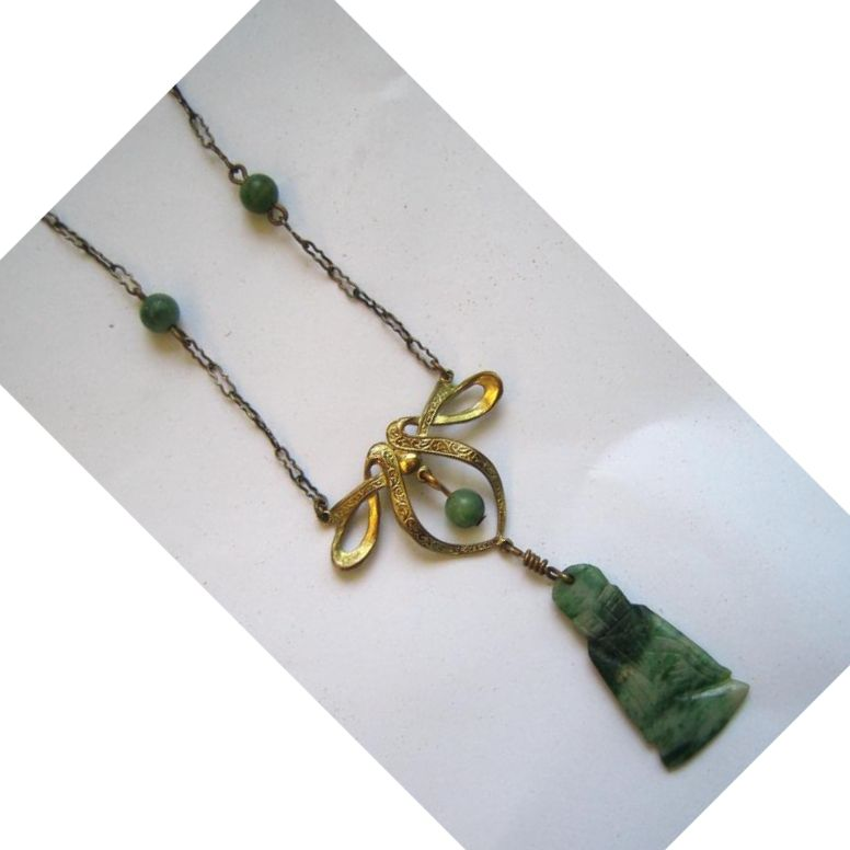 Unsigned Art Deco Bow and Jade Buddha Necklace/Pendant