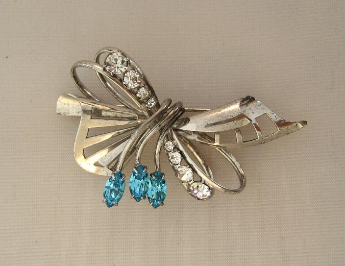 Carl Art Sterling Rhinestone Bow Brooch/Pin