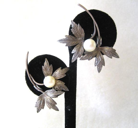Sterling Silver and Pearl Leaf Earrings
