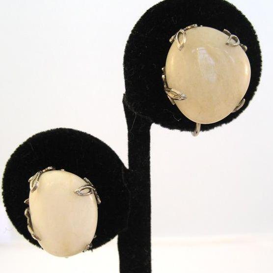 Silvertone Cream Glass Earrings