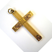 Gold-Filled Floral Engraved Cross