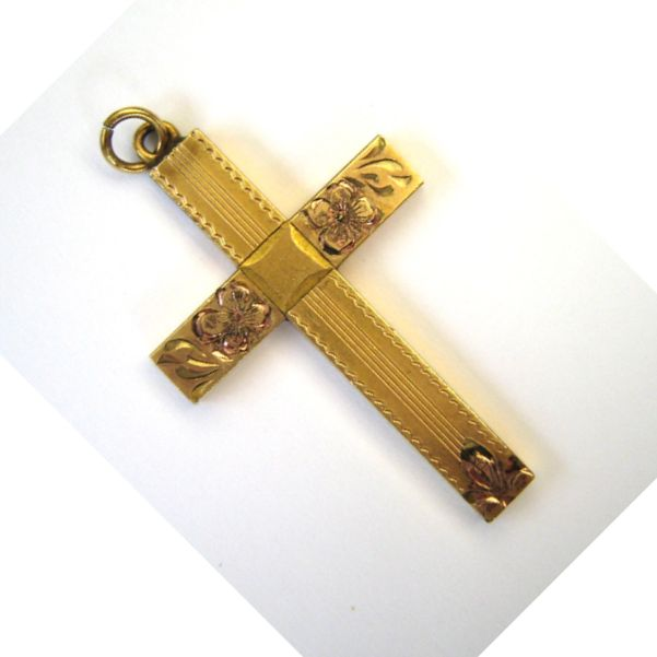 Gold-Filled Floral Engraved Cross