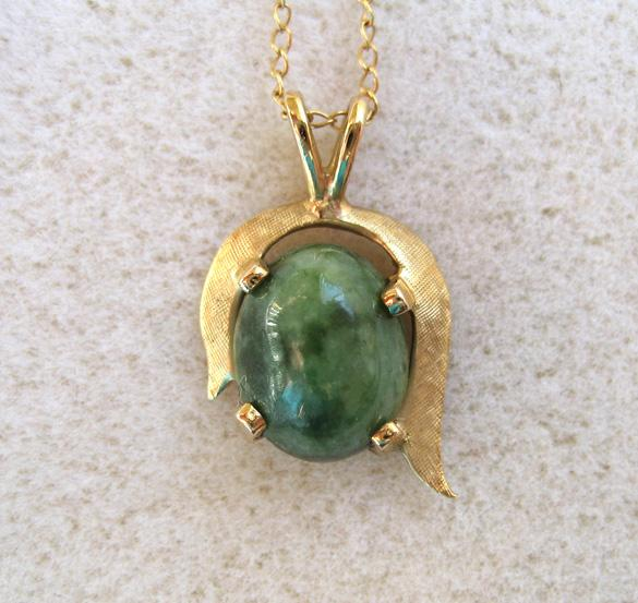 14K Yellow Gold Jade Pendant