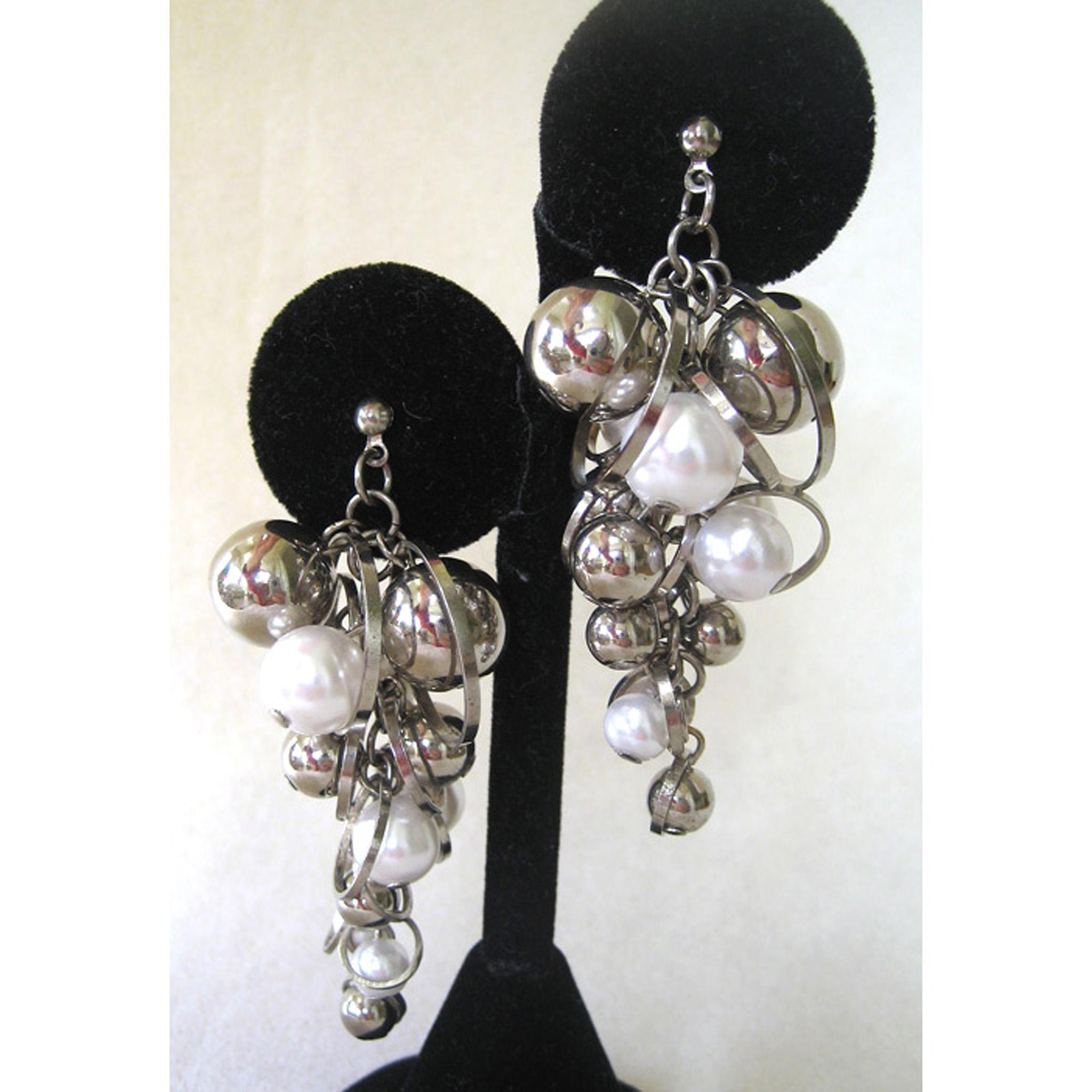 Unsigned Silvertone and Faux Pearl Grape Earrings