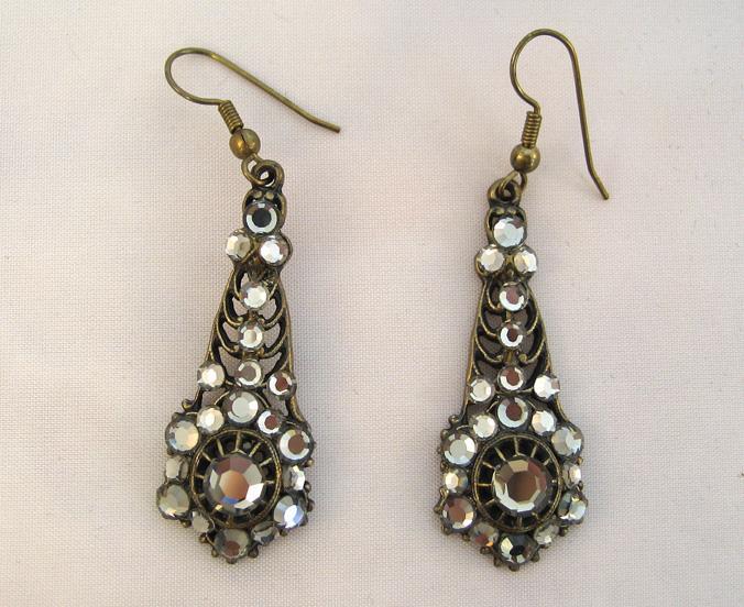 Unsigned Metallic Rhinestone Drop Earrings