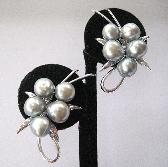 Unsigned Silvertone Grey Baroque Faux Pearl Earrings