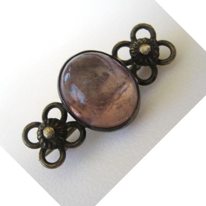 Victorian Amethyst Sterling Brooch/Pin