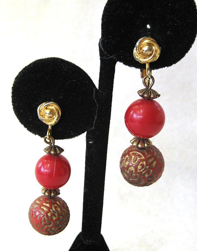 Hobe Carved Red Bead Earrings