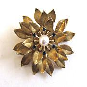 Gold-Tone Krementz Blue Rhinestone Culture Pearl Mum Pin