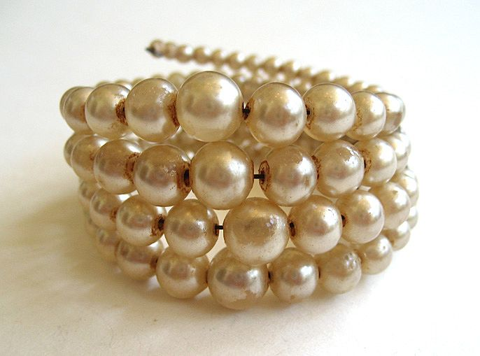 Quadruple-strand Wired Faux Pearl Bracelet