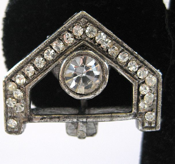 Silver Tone Art Deco Rhinestone Architectural Earrings