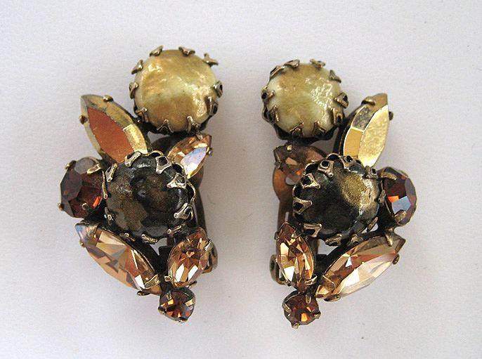 Regency Brown Art Glass and Rhinestone Earrings