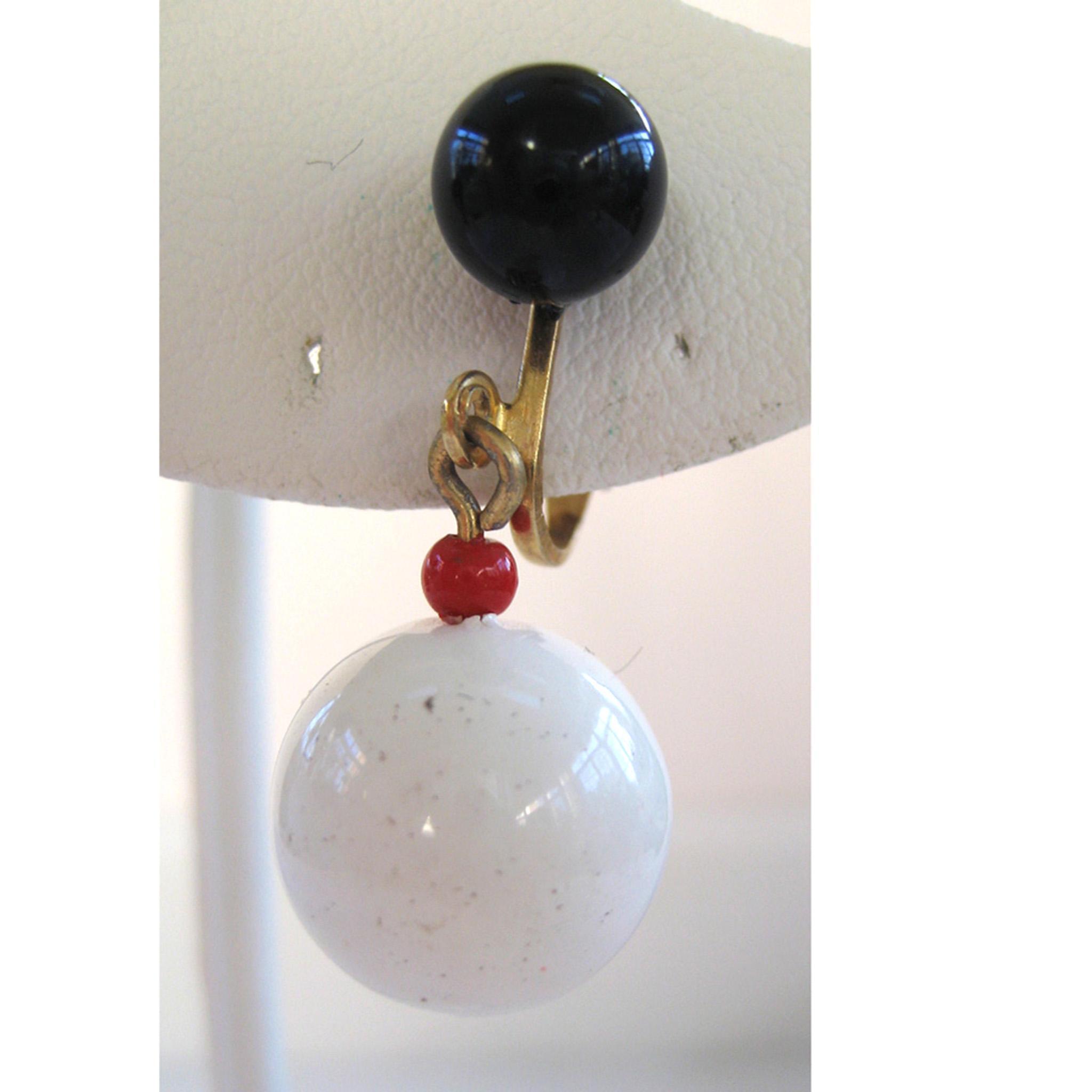 Hong Kong Red White and Blue Ball Earrings