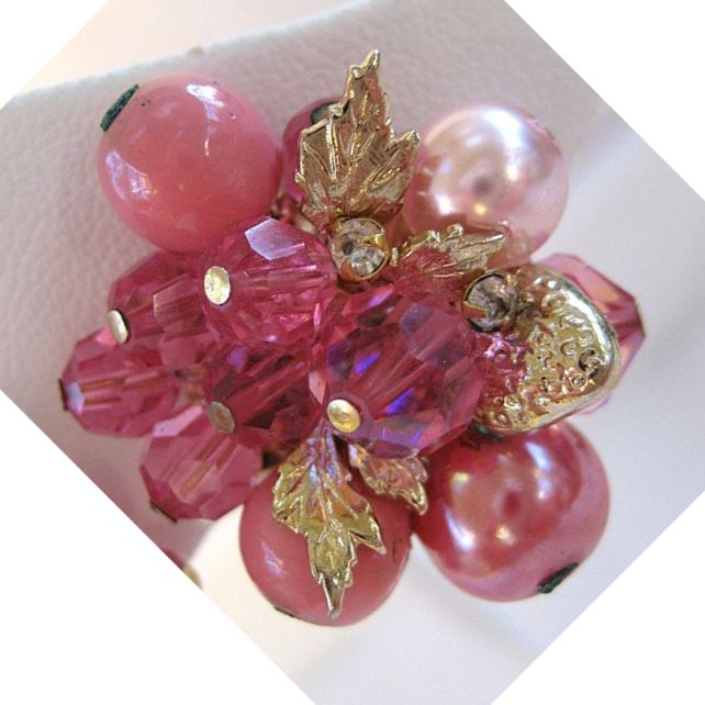 Vendome Pink Bead and Crystal Earrings