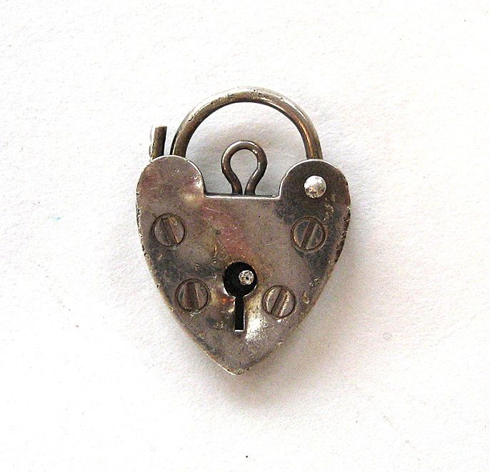 Sterling Silver English Heart Lock Charm