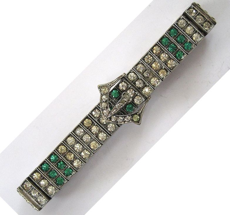 Art Deco Diamonbar Sterling Silver Clear and Green Rhinestone Buckle Bracelet