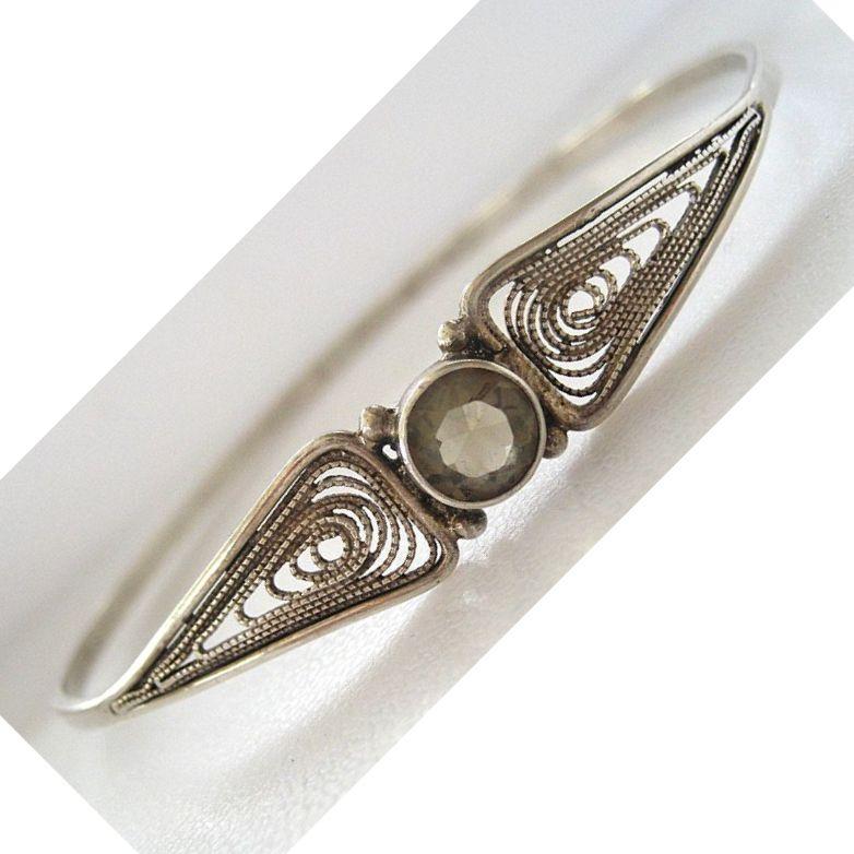 Austrian Sterling Silver Citrine Bangle Bracelet