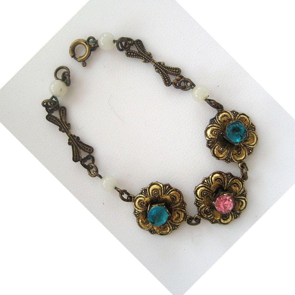 Gold Tone Floral Rhinestone Bracelet