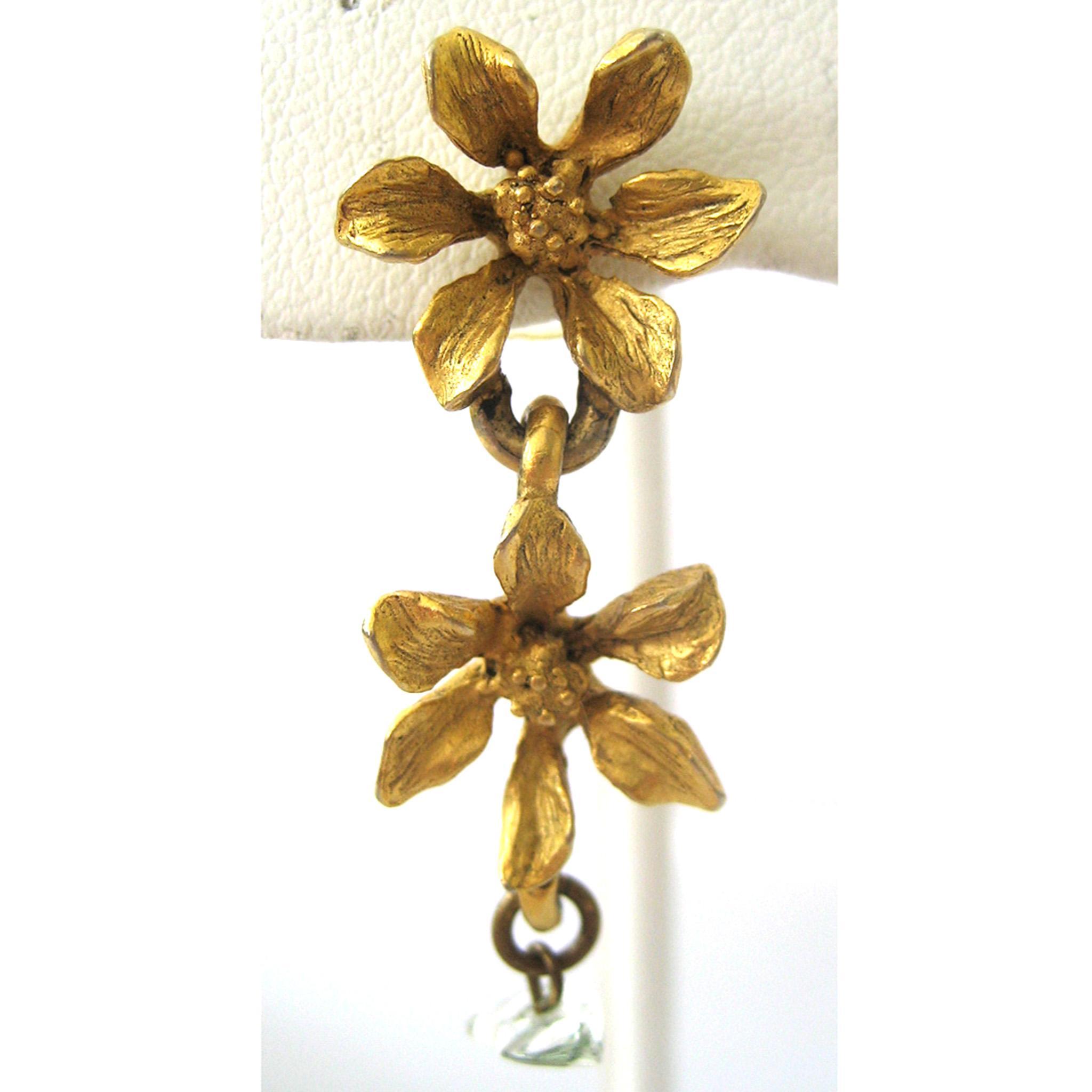 Pierced Floral Gold Tone Earrings