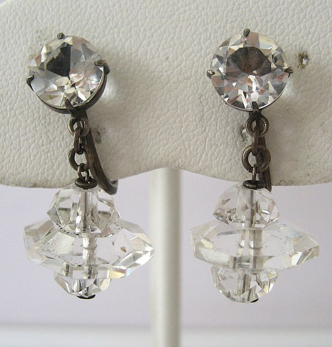 Art Deco Japanese Silver Crystal Drop Earrings