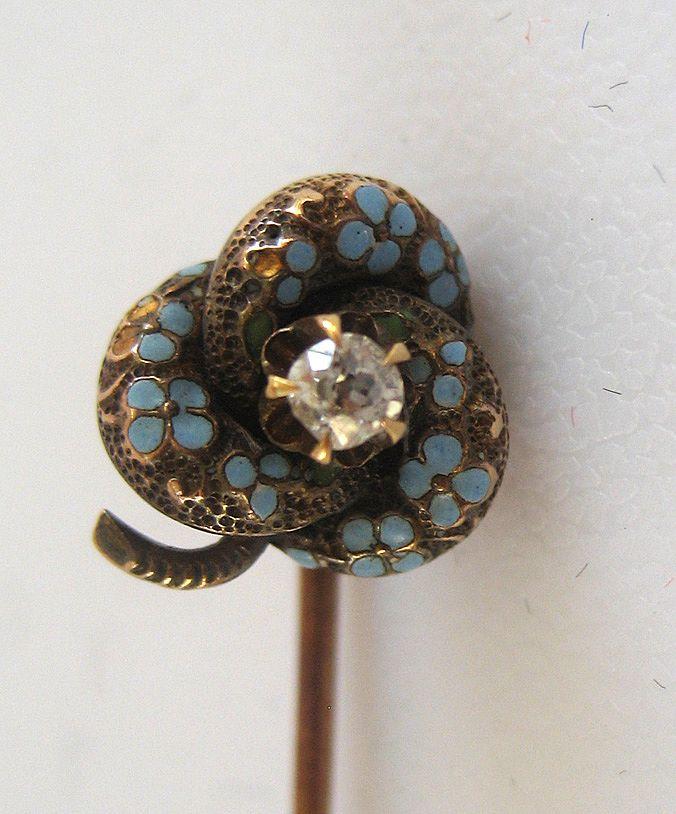 14K Victorian Enamel Mine Cut Diamond Stick Pin