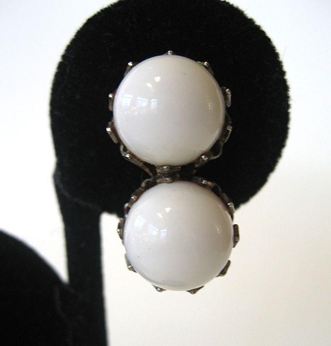 White Glass Double Ball Earrings