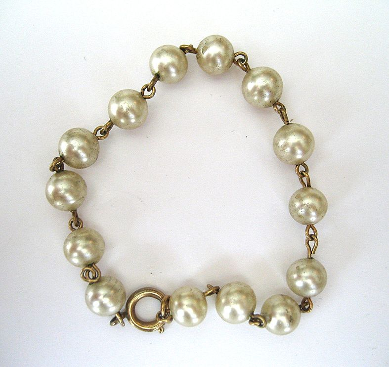 Gold Filled Faux Pearl Bracelet