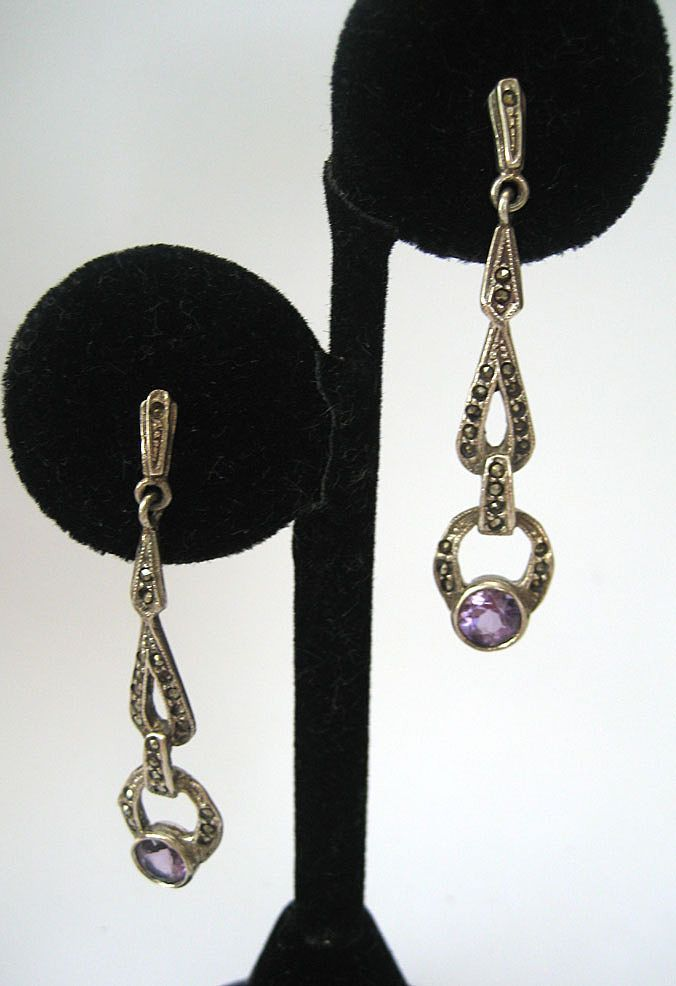 Sterling Marcasite Amethyst Earrings