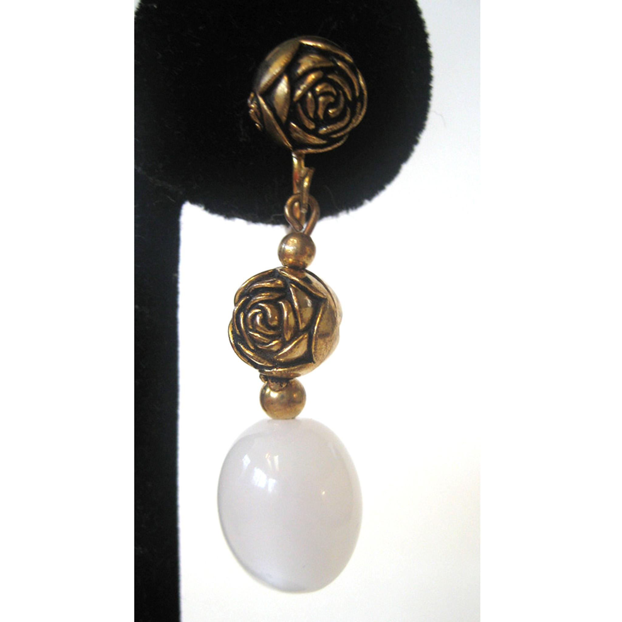 Gold Tone Frosted Glass Rose Earrings