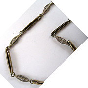 14K Yellow Gold and White Gold Decorative Link Watch Chain