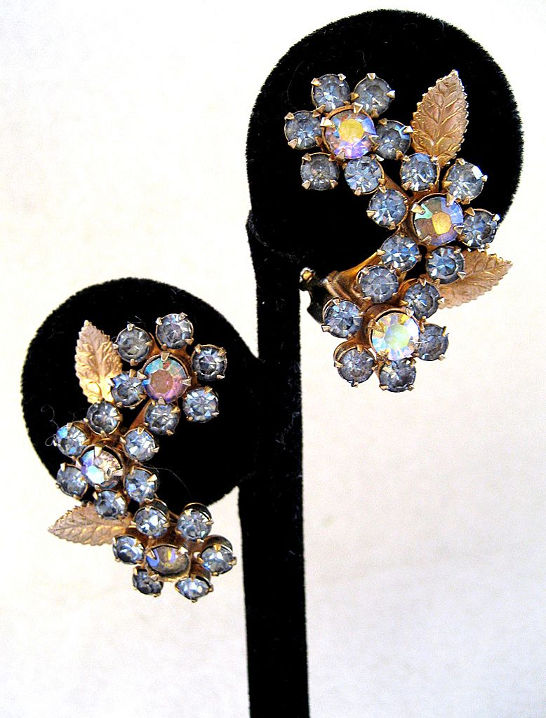 Weiss Gold Tone Floral Earrings from rubylane-sold on Ruby Lane