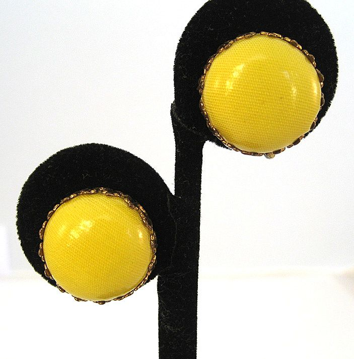 Yellow Plastic Disc Earrings