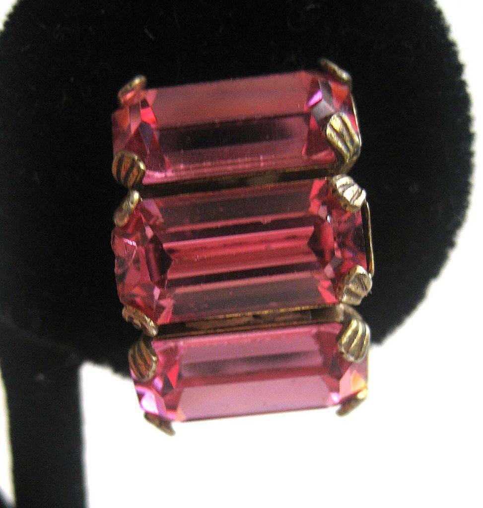 Pink Curved Rhinestone Earrings