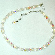 Laguna Iridescent Glass Faceted Bead Choker/Necklace