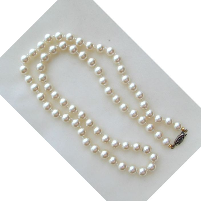 Faux Glass Pearl Necklace/Choker with Silver Tone Filigree Clasp