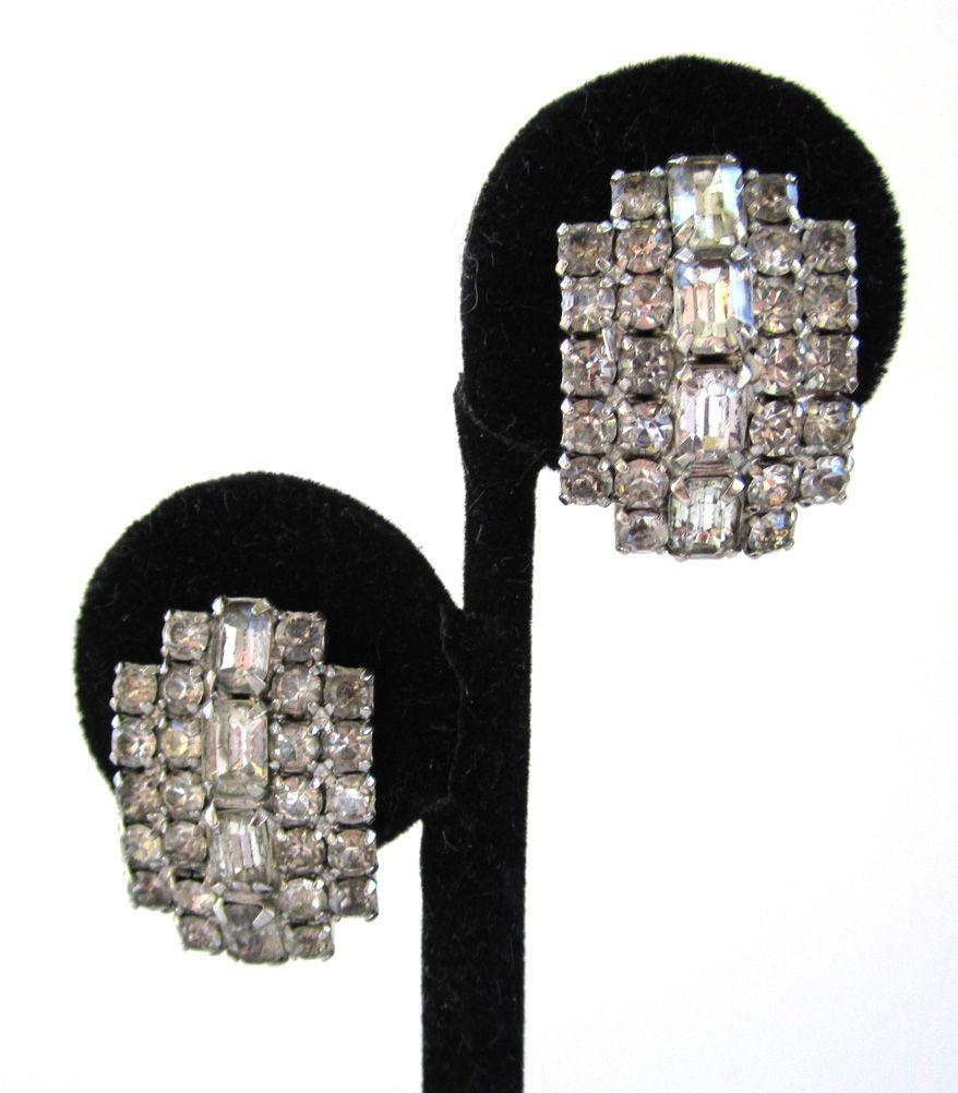 Kramer Curved Rhinestone Sparkling Clip-back Earrings