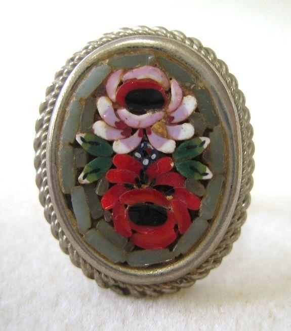 Italian-made Micro-Mosiac Silver Floral Ring