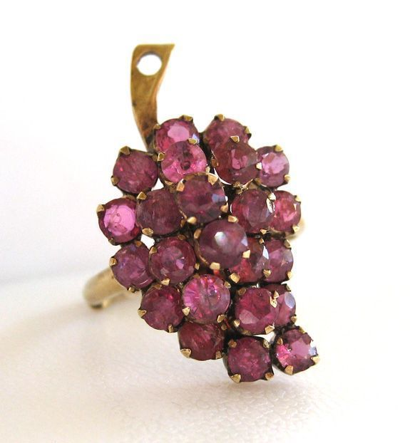 14K Yellow Gold Ruby Grapes Ring