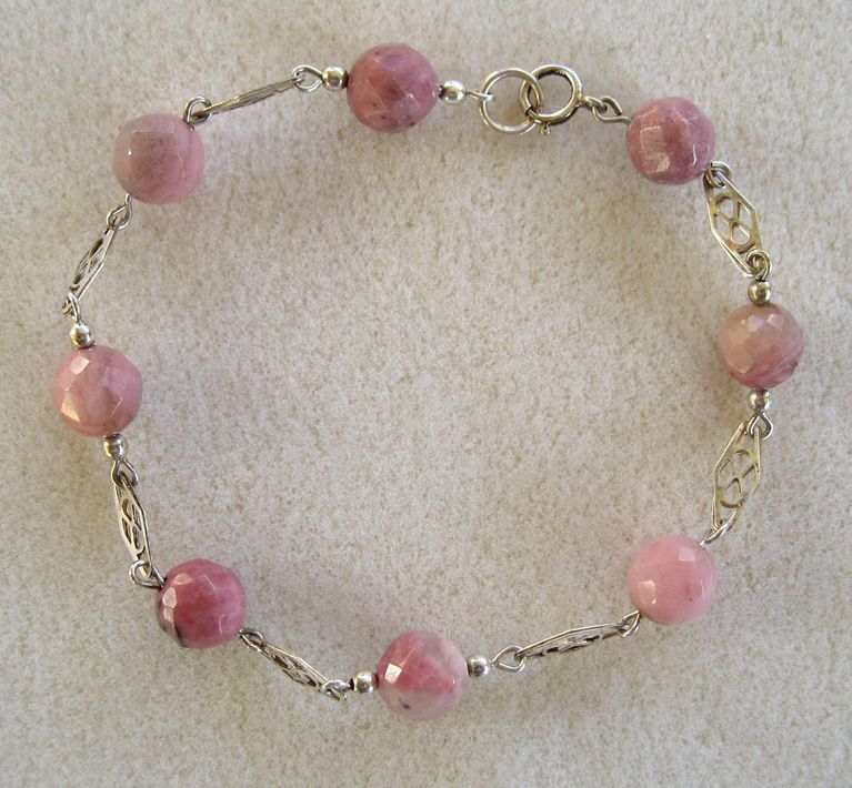 Sterling Silver Rose Quartz Bead Bracelet