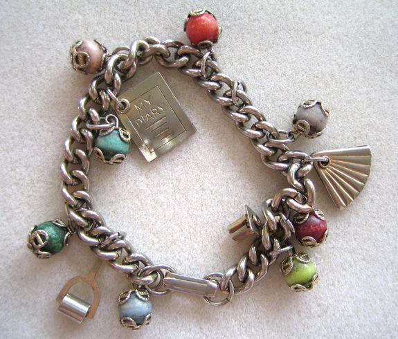 Silver-Tone Link Beaded Charm Bracelet