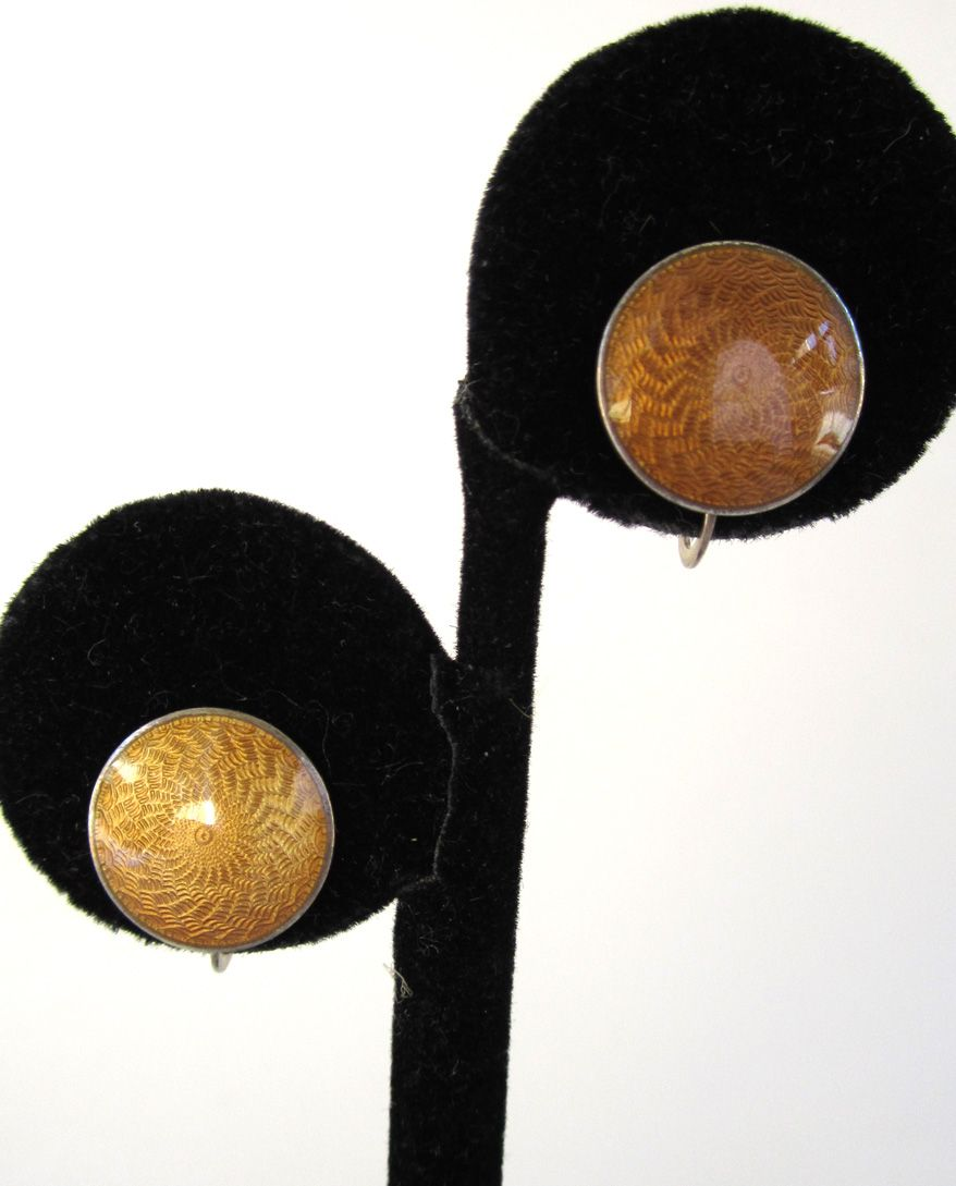 Sterling Gold Guilloche Enamel Disc Earrings