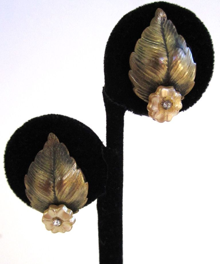Brass-toned Leaf and Floral Rhinestone Earrings