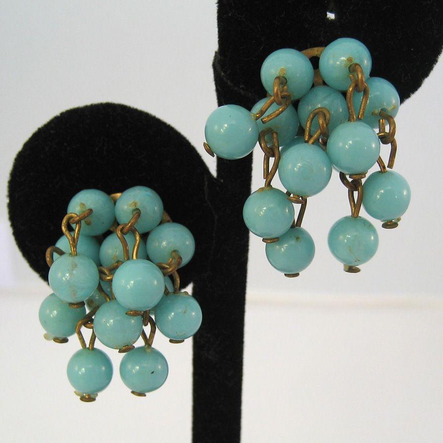 Czechoslovakian Blue Bead Earrings