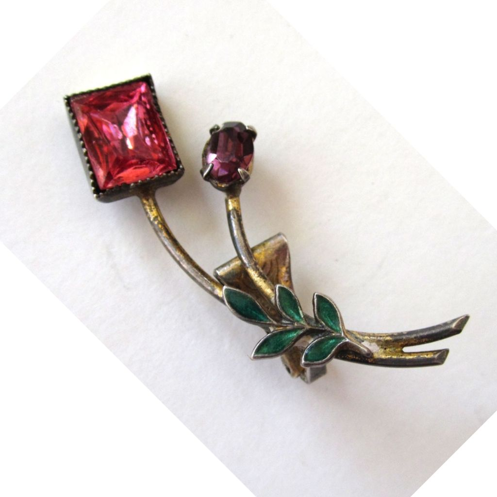 Art Deco Petite Sterling, Enamel and Rhinestone Floral Dress Clip