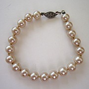 Faux Pearl and Silver Tone Filigree Bracelet