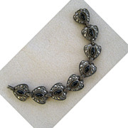 Pot Metal Marcasite and Black Glass Bracelet