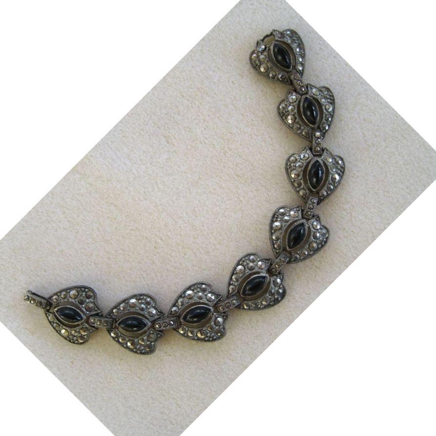 Pot Metal Marcasite and Black Glass Bracelet
